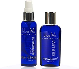 RemySoft blueMax Daily Refresher & Protective Silicone Serum Set - Safe for Hair Extensions, Weaves and Wigs - Salon Formula Leave-in Conditioner & Serum