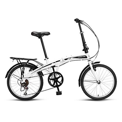 Frauenfahrrad Faltbare Fahrrad, Licht und bewegliches Fahrrad for Studenten, Variable Speed Fahrrad, Erwachsener Falträder (20 Inches) Faltbares Herrenrad (Color : White)