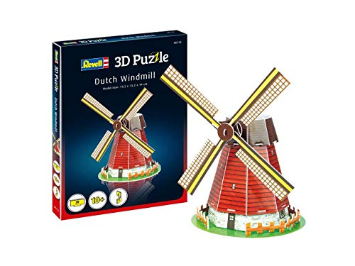 Revell 3D Puzzle 00110 Holländische Windmühle, EIN Wahrzeichen der Niederlande Die Welt in 3D entdecken, Bastelspass für Jung und Alt, farbig