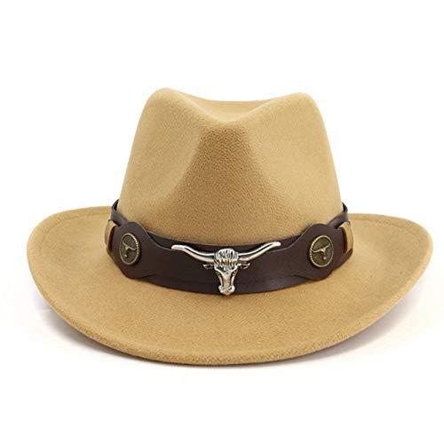CHENGWJ Cap Fedoras Mannen Wol Voelde Trilby Jazz Cowboy Fedora Hoeden Koe-Hoofd Lederen Band Decor Mannen Vrouwen Brede Brim Panama Sun Cap Top hoed