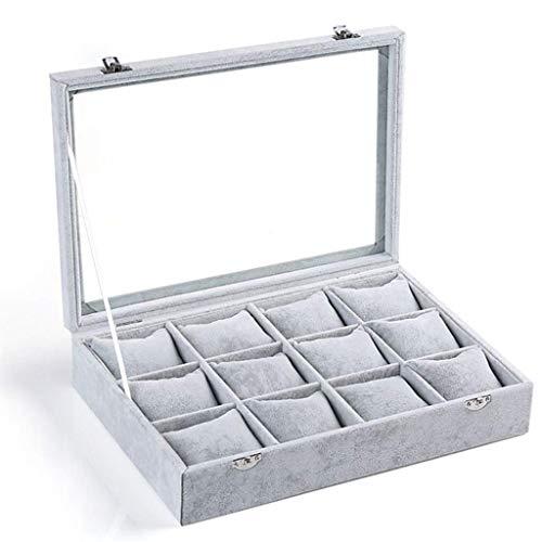 Caja de reloj de 12 celdas extraíble Almohada pulsera de reloj de la bandeja del caso de exhibición de almacenamiento de joyería de almacenamiento caja como regalo Ver Cajas de almacenamiento, de los