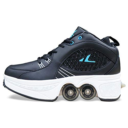K.L.T Deformation Roller Shoes Automatic Walking Shoes with Double-Row Deform Wheel, 2-in-1 Pulley Parkour Shoes Retractable Kick Rollers Wheeled Footwear Skate Shoe (9 Women/8 Men, Black)