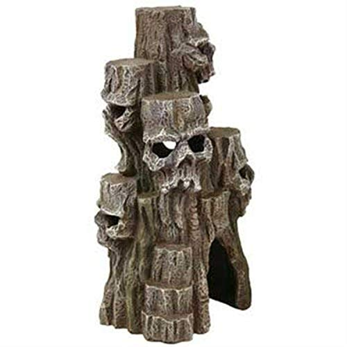 Blue Ribbon Exotic Environments Skull Mountain Aquarium Ornament, Tall, 5-1/2-Inch by 5-Inch by 10-Inch