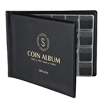 MUDOR Coin Collection Holder Album for Collectors 240 Pockets Coin Collection Book Supplies  Black