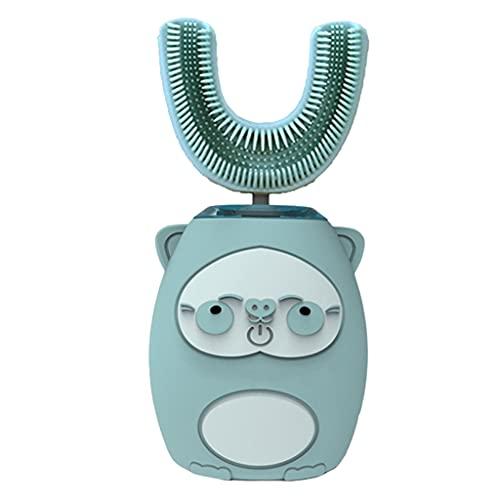 F Fityle Cepillo de dientes eléctrico en forma de U para niños, Cepillo de dientes ultrasónico Cepillo de dientes de modelado de dibujos animados tipo U, Modo - Azul 8 a 15 años