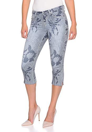Stooker Tahiti Stretch Capri Jeans Hose Slim Fit Damen Bermuda 7/8 Hose - Flower/Stripe AOP (W44 L53, 9644 - Flower/Stripe AOP)