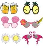 6 paia di occhiali da festa novità, occhiali da sole hawaiani divertenti, occhiali da sole da festa, occhiali per bambini e adulti, accessori per costumi da festa in spiaggia estiva tropicale.