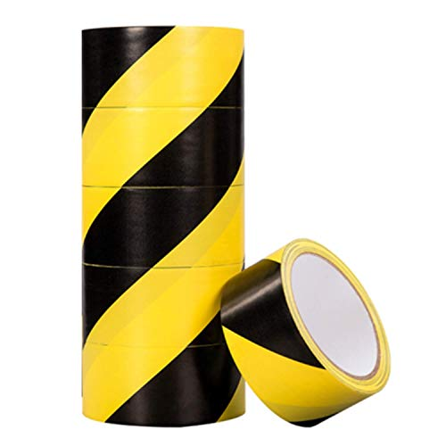 MJUNM 6 Rolls Black and Yellow Hazard Tape Safety Tape Adhesive Warning Tape Stripe Tape Marking Tape Floor Tape PVC Safety Tape, 2 inch x 22 Yard, Ideal for Walls, Floors, Pipes and Equipment