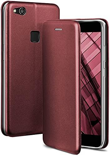 ONEFLOW Handyhülle kompatibel mit Huawei P10 Lite - Hülle klappbar, Handytasche mit Kartenfach, Flip Hülle Call Funktion, Leder Optik Klapphülle mit Silikon Bumper, Weinrot