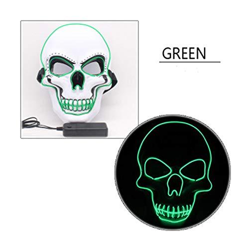 ACHICOO LED Halloween Scary Glow Skeleton Maske Cosplay Party Kostümzubehör Weiß