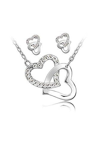 SODIAL Collar de adorno y pendientes 2 corazones entrelazados y Cadenas chapadas oro blanco de 18 quilates - Blanco