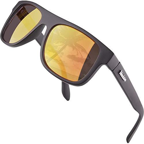 Verdster Islander - Breite Sonnenbrille Für Herren & Damen - Klassisches Design - Inklusive Accessoires - Verspiegelte Orange Linse