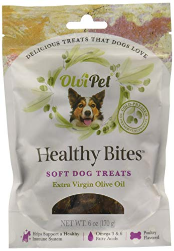 OlviPet, Healthy Bites, Soft Dog Treats, Poultry Flavored, Healthy Snack, Olive Oil Based, Rich in Nutrients, 6 oz.