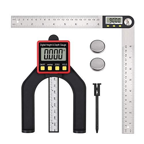 Proster Digital Depth Gauge 0-200mm Digitaler Tiefenmesser und 8 Zoll Edelstahl Winkelsucher Lineal Digitaler Winkelmesser Werkzeug Set
