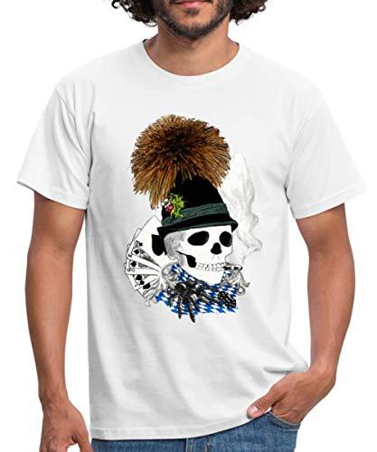 Oktoberfest Schädel Wiesn Skull Männer T-Shirt, S, Weiß