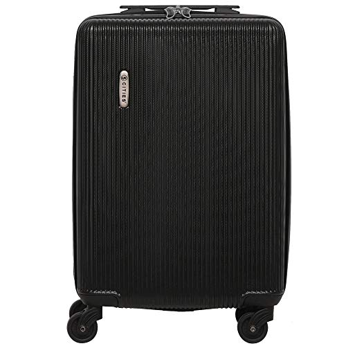 5 Cities Lightweight ABS Hard Shell Carry On Cabin Hand Luggage Suitcase with 4 Wheels, Approved for Ryanair, easyJet, British Airways, Virgin Atlantic and More, (Black)
