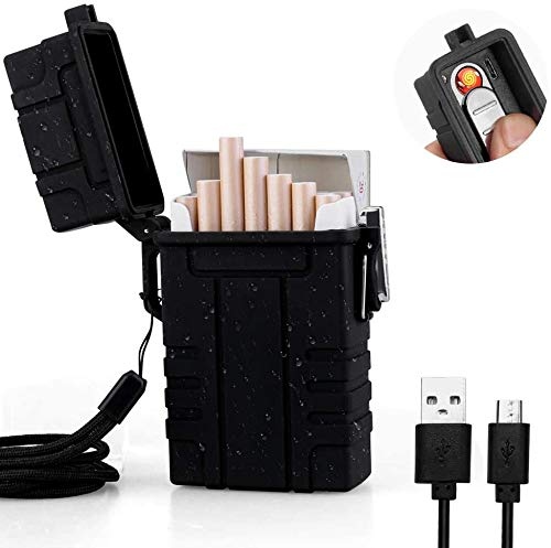 Waterproof Cigarette Case with Electric Lighter, USB Rechargeable Cigarette Lighter Flameless Windproof Dry Box for Outdoor Camping Hiking