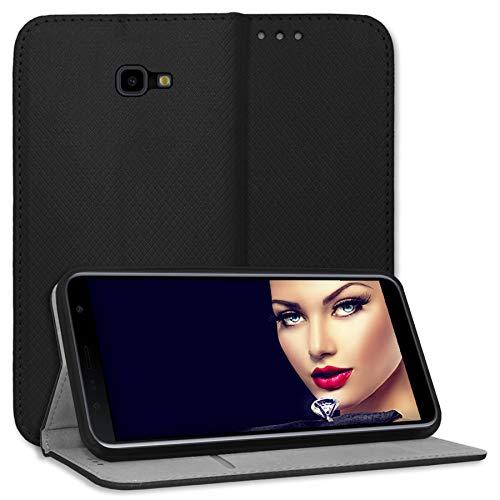 mtb more energy® Schutz-Tasche Bookstyle für Samsung Galaxy J4 Plus, J4+ 2018 (SM-J415, 6.0'') - schwarz - Kunstleder - Klapp-Cover Hülle Wallet Hülle