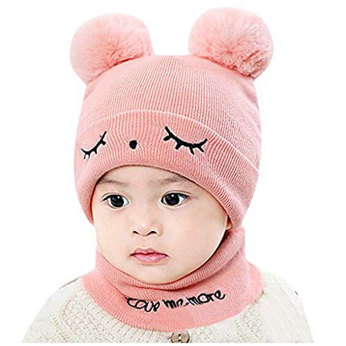 Lazzboy Garçons filles bébé Cagoule en laine chaude écharpe Casquettes Chapeaux Pompon Naissance Mignonne Automne hiver Rose 0-2 Ans
