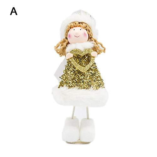 PITCHBLACute Santa Muñeco de nieve Muñeca Decoración Árbol de Navidad Adorno para colgar en la pared Felpa...