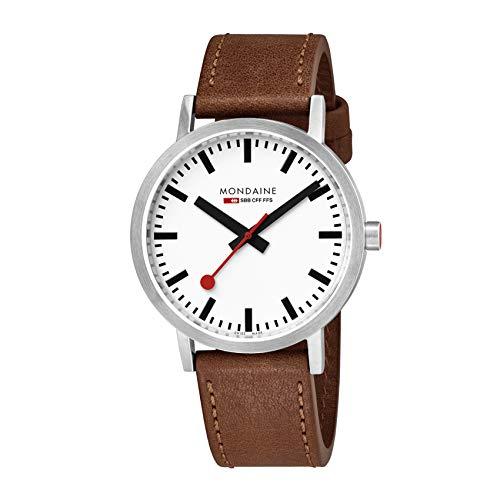 Mondaine Classic Quartz Uhr, Weiss/Braun, 40mm, Lederband, A660.30360.16SBT