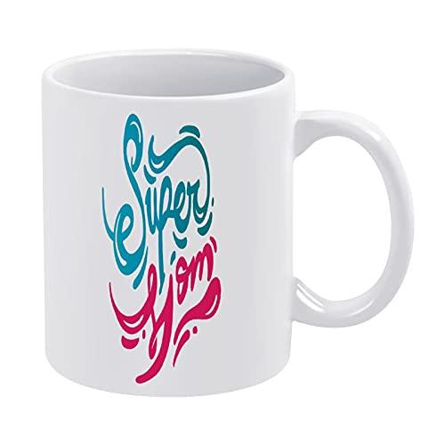 DKISEE Regalo de cumpleaños para mamá Super Mom, taza de café de cerámica, taza de té, regalo ideal para vacaciones de cumpleaños