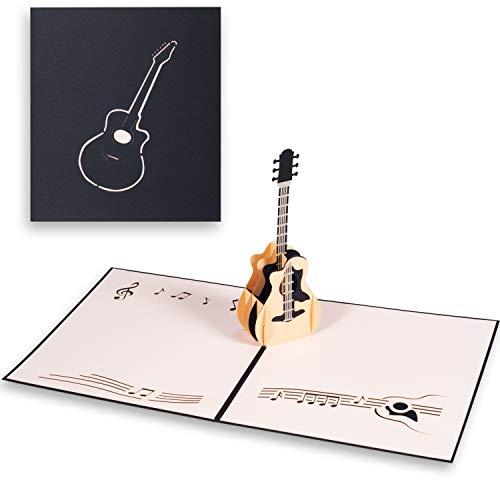 ANEWISH 3D Geburtstagskarte Dreidimensionale Geburtstagstorte Pop-Up-Karte mit Umschlägen (Gitarre)