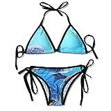 Conjuntos de Bikinis de Dos Piezas para Mujer, Acuario, delfín, pez, Algas, mar Azul, Traje de baño, Halter, Acolchado, Push Up, Ropa de Playa
