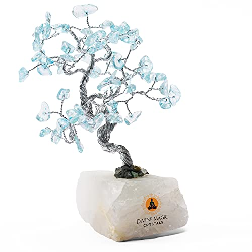 Divine Magic Blue Topaz Crystal Good Luck Money Tree Abundance Gifts for Anniversary Wealth Healing Crystal Tree of Life Feng Shui Good Fortune Items for Home Office