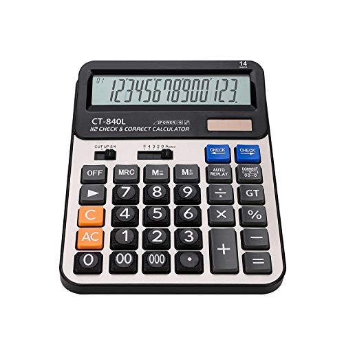 Standard Taschenrechner Schulrechner Solar und Batterie Tischrechner Dual Power Bürorechner Natürliches Display Wirtschaftsrechner Office Finanzrechner Rechenmaschine für Büro Business