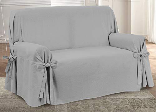 Funda para sofá con lazos, diseño precioso, color gris, modelo O.B.