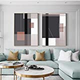 Lienzo marrón pintura póster e impresión abstracta geométrica abstracción única decoración cuadro de arte de pared para sala de estar - (50X70cm) 2 piezas sin marco