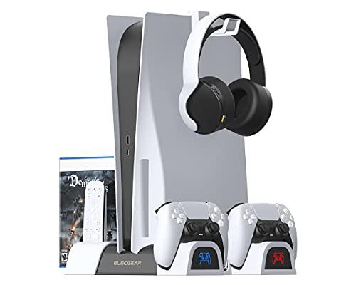 ElecGear PS5 Supporto Verticale, Ventola di Raffreddamento, Base di Ricarica Doppio Charger con Giochi Games Storage Stand per DualSense Controller, PlayStation 5 Media Remote e Cuffie Gaming