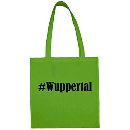 Tasche #Wuppertal Größe 38x42 Farbe Grün Druck Schwarz
