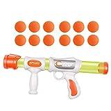 FeiWen Pistola Giocattolo per Bambini Manuale Burst Tiro Combattimento Eva Palla di Schiuma Morbida Pistola Giocattolo Aerodinamica (1 Arma 12 Colpi)