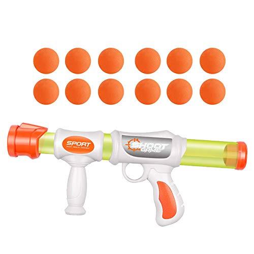 FeiWen Luftpumpen-Schießpistole Soft Bullet Gun Spiele Mit 34/12 Schaumstoffball Kinderspielzeug Pneumatische Pistole Schaumkugelwerfer(2 / Single) (1 Waffe 12 Kugeln)