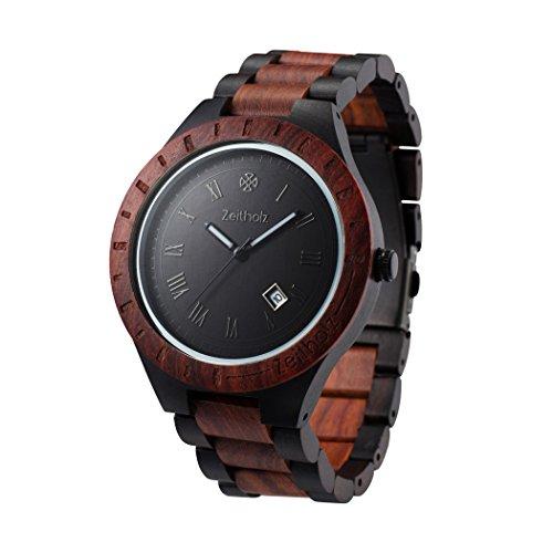 ZEITHOLZ - Orologio da uomo di legno, modello Zittau - Cassa e cinturino di legno di sandalo - Nero e rosso - Leggero, orologio robusto ed elegante - Cinturino regolabile