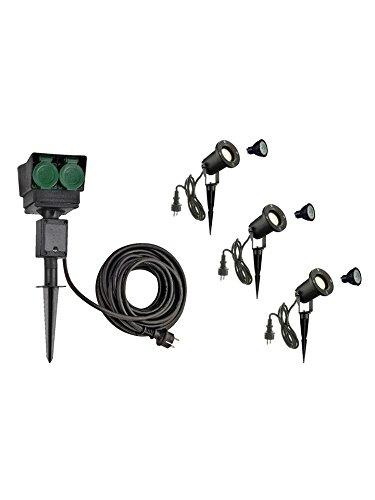 SLV LED Strahler NAUTILUS XL 3er Set mit Erdspieß, 4-fach IP44 Gartensteckdose 10m, 3x GU10 Leuchtmittel, Aussen-Leuchte, Außen-Strahler
