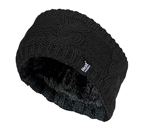 HEAT HOLDERS - Damen Outdoor gestrickt Strick Thermo Winter Stirnband mit innen Fleece (One Size, Schwarz)
