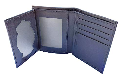 Tiendas LGP- Cartera Portaplaca de Piel - para Insignia del Cuerpo Nacional de Policía, CNP, Billetero Tarjetero, Color Negro Fabricada en Ubrique