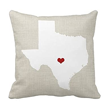 Cotton Linen Square Decorative Throw Pillow Case Cushion Cover 18x 18 Texas State Heart (Adriannaburing)