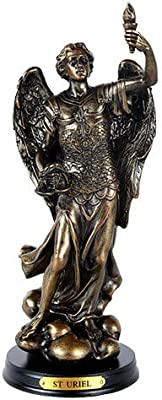 St. Uriel Archangel of Light and Wisdom Figurine 8 Inch Tall Wooden Base with Brass Name Plate