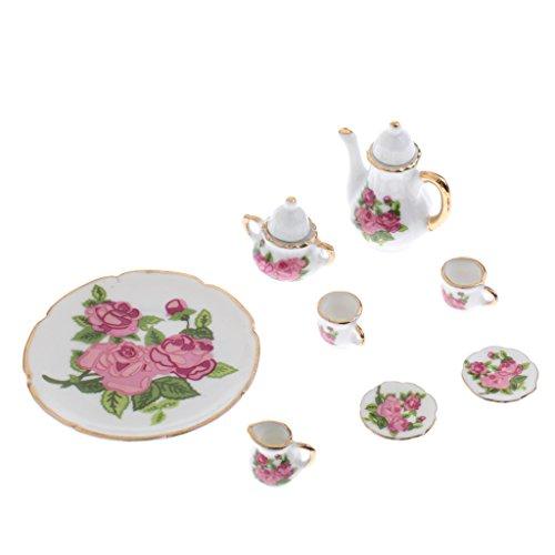 Hellery Casa de Muñecas Miniatura Flores Rosas Porcelana Cerámica Té Juego de Vajilla Escala 1/6