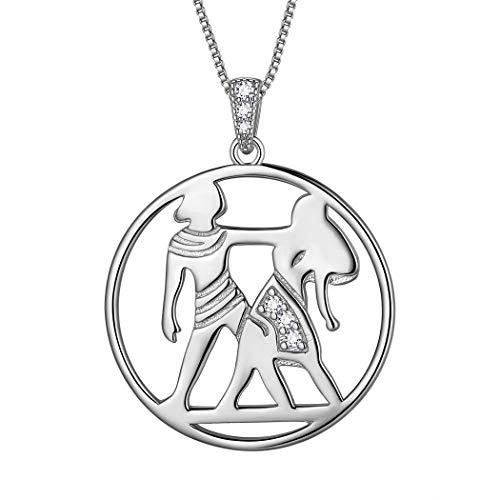 AuroraTears Zwillinge Halskette 925 Sterling Silber 12 Sternzeichen Anhänger Konstellation Runde Münze Halskette CZ Horoskop Schmuck Geschenk für Frauen und Mädchen DP0291G