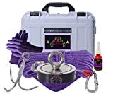 2600LBs Complete Double Sided Magnet Fishing Kit with Case - Strong Magnet for Magnet Fishing, Neodymium Magnet for Heavy Duty Use | Includes a Durable 65 ft Rope and Carabiner, Gloves and Case