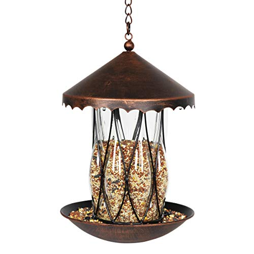 Exhart Solar Bronze Bird Feeder - Hanging Bird Feeder in Bronze Metal Cage & Diamond Glass Design with Solar LED Lights - Garden Art Glass Bird Feeder, Solar Bird Feeder, 9' L x 9' W x 11' H