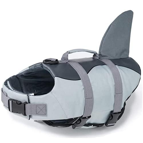 Chalecos salvavidas para perro a prueba de desgarros chaleco de tiburón con asas de rescate para mascotas perro traje de baño de seguridad piscina playa barco