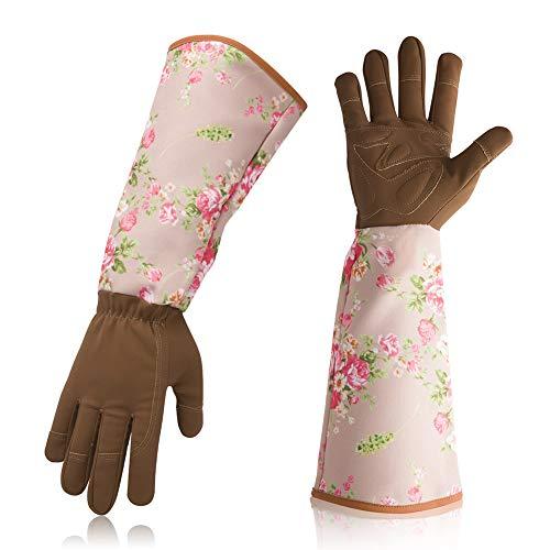 Lange Gartenhandschuhe für Damen, Rosen-Gartenhandschuhe mit langem Unterarmschutz, Dornschutz, Gartenhandschuhe für Blumenpflanzen und Beschneiden