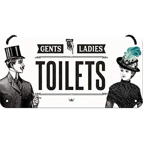 Nostalgic-Art Cartel Colgante Retro Ladies & Gentlemen Toilets – Idea de Regalo para los Fans de la Nostalgia, metálico, Diseño Vintage, 10 x 20 cm