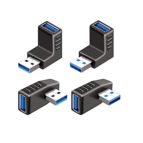 USB コネクタ 直角 アダプタ 右向き/左向き/上向き/下向き USB 3.0 アダプタ 90度 L型 Type A (タイプa オス〜タイプa メス) 方向 変換 延長 コネクタ 4個セット